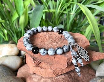 Optimism Mala Bracelet | Luxury Gemstone Mala Beads | Black Onyx | Silvery Gray Crazy Lace Agate | Happiness | Laughter | Joy | Positivity