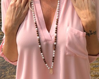 Clear Path Mala Necklace   White Howlite   Madre De Cacao Wood   Citrine   Reiki Infused 108 Mala Beads   Meditation   Clarity   Strong Mind