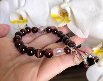 Soul Connection Mala Bracelet | Soulmate | Twin Flame | Sterling Silver Infinity Charm | Red Tigers Eye | Garnet | Rose Quartz | Rhodonite