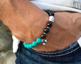 Mens Native Soul Mala Bracelet | Quality Natural Stones | Turquoise | Obsidian | Hematite | Buddha | Healing Mala Beads | Stabilizes Moods