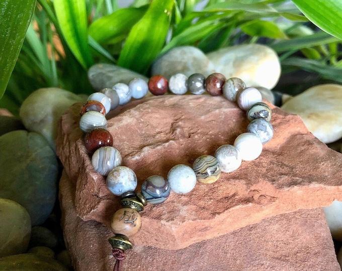 Featured listing image: Warm Glow Mala Bracelet   Luxury Laguna Lace Agate Gemstones   Reiki Infused Mala Beads   Heart Healing   Self Acceptance   Inner Peace