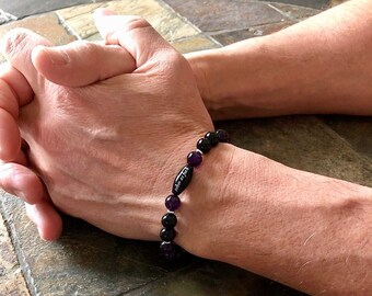 Men's Sober As Fuck Mala Bracelet | Purple Amethyst | Black Onyx | AAA Luxury Gemstones | Reiki Healing Mala Beads | Strength | Protection