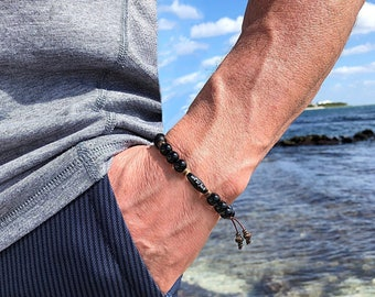 Men's Onyx Zen as Fuck Mala Bracelet | Black Onyx Gemstones | Natural Coconut Shell | Reiki Healing Mala Beads | Protection | Eases Anxiety