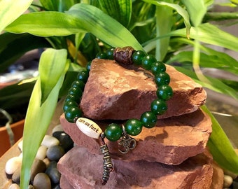 Women's Jade Zen as F#ck Mala Bracelet | Green Jade Gemstones | Reiki Energy Infused Mala Beads | Abundance | Success | Blessings | Zen