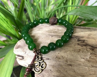 Men's Spiritual Wealth Mala Bracelet | Jade Gemstones | Driftwood Buddha | Om | Reiki Infused Mala Beads | Success | Prosperity | Abundance