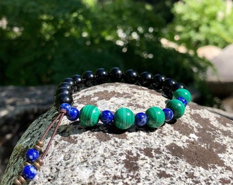 Whispering Raven Mala Bracelet | Black Tourmaline | Natural Malachite | Lapis Lazuli | Luxury Gemstone Mala Beads | Self Healing | Renewal