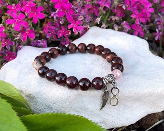 Soulmate Mala Bracelet | Twin Flame | Mala Beads | Red Tigers Eye | Rhodonite | Rose Quartz | Garnet | .925 Sterling Silver | Love | Passion