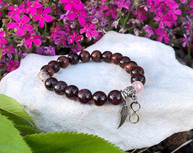 Featured listing image: Soulmate Mala Bracelet | Twin Flame | Mala Beads | Red Tigers Eye | Rhodonite | Rose Quartz | Garnet | .925 Sterling Silver | Love | Passion