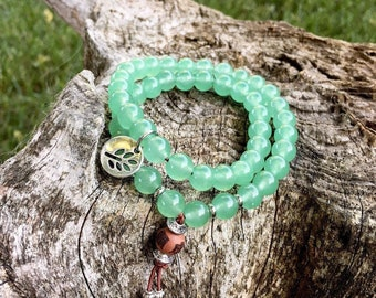 New Opportunity Double Mala Bracelet | Green Adventurine | Luxury Gemstone Mala Beads | Yoga | Reiki Infused | Luck | Prosperity | Abundance