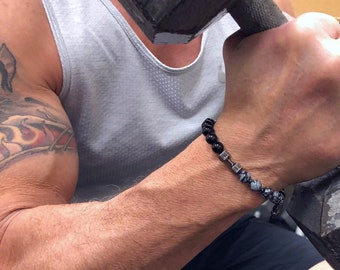 Strength Fitness Mala Bracelet | Black Onyx | Snowflake Obsidian | Black Tourmaline | Physical Energy | Resilience | Stamina | Endurance