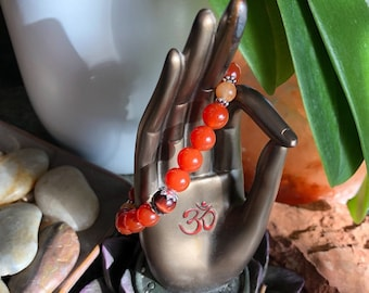 Infinite Courage Mala Bracelet | Luxury Mala Beads | Red Carnelian | Red Tigers Eye | Orange Adventurine | Healing | Confidence | Energy