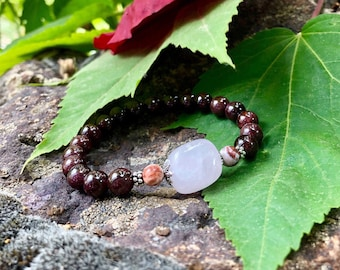 Deep Love Mala Bracelet | AAA Brazilian Red Garnet | AAA Rose Quartz | AAA Crazy Lace Agate | Luxury Mala Beads | Happiness | Love | Passion
