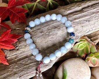 High Consciousness Mala Bracelet | Aquamarine | Azurite | Natural Gemstone Mala Beads | Raises Vibration | Spiritual Intuition | Peace