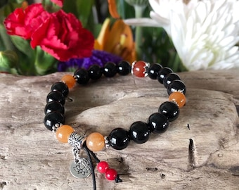 Sunset Lotus Dreams Mala Bracelet | Black Obsidian | Red Carnelian | Red Coral | Orange Aventurine | Mala Beads | Protection | Eases Grief