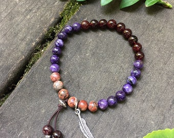 Healer Mala Bracelet | Unique Boho Mala Beads | Charoite | Garnet | Leopard Skin Jasper | Transformation | Protection | Overcomes Fear | OCD