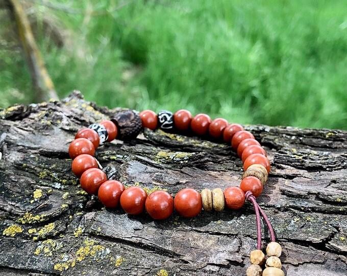 Featured listing image: Men's Life Force Energy Mala Bracelet | AAA Red Jasper | Picture Jasper Tassel | Luxury Mala Beads | Grounding | Stress Relief | Recharge