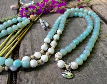 Dharma Mala | AAA Grade Luxury Amazonite Gemstones | 108 Bead Neck Mala | Mala Bead Necklace | Communication | Courage | Self Love | Joy