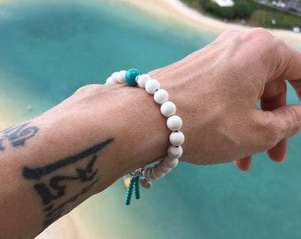 Celestial Mala Bracelet | Mala Beads | Yoga Bracelet | Wrist Mala | Natural Gemstones | Magnesite | Turquoise | Relaxing | Stabilizes Moods