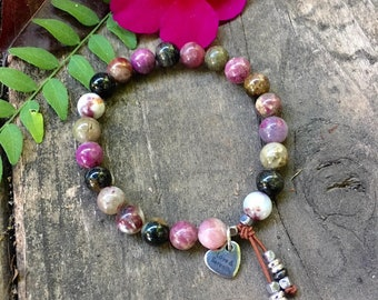 Love & Serenity Mala Bracelet | Rainbow Tourmaline | Luxury Mala Beads | Chakra Healing | Self Love | Energy Clearing | Empath Protection