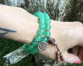 New Opportunity Double Mala Bracelet | Adventurine | Luxury Gemstone Mala Beads | Yoga | Reiki Infused | Luck | Prosperity | Abundance