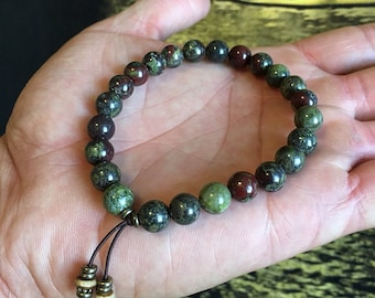 Men's Power Mala Bracelet | Dragons Blood Jasper | Healing Mala Beads | Wrist Mala | Courage | Strength | Motivation | Accomplishment