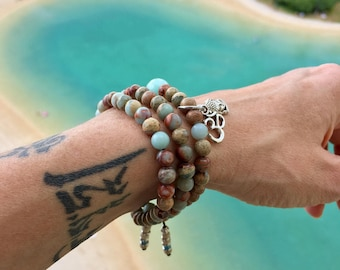 Aqua Triple Mala Bracelet | Luxury Aqua Terra Jasper Gemstones | Reiki Infused Mala Beads | Om | Buddha | Heals Emotional Wounds | Peace