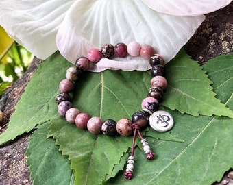 Release The Past Mala Bracelet | Luxury Rhodonite | Reiki Infused | Gemstone Mala Beads | Self Love | Heart Healing | Letting Go | Optimism