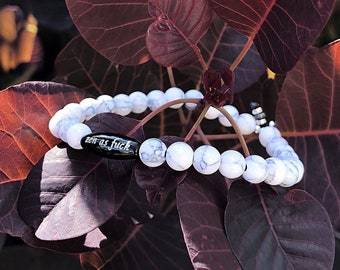 Relaxing Zen AF Mala Bracelet   White & Grey Howlite   Black Onyx   Reiki Infused Mala Beads   Relieves Anxiety   Eases Stress and Anger