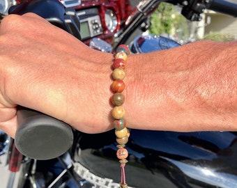 Men's Worthy Mala Bracelet | Luxury Picasso Jasper | Reiki Infused Healing Mala Beads | Celebration | Confidence | Esteem | Friendship
