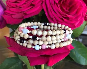 Singing Rainbow Mala Bracelet Wrap | Authentic Sandalwood | Rhodochrosite | Amethyst | Blue Lace Agate | Rose Quartz | Luxury Mala Beads