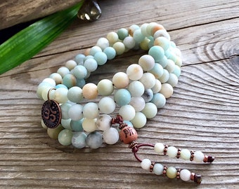 Abundance Wrap Mala Bracelet or Necklace | Frosted Amazonite Mala Beads | Reiki Healing | Meditation | Eases Worry | Enhances Communication