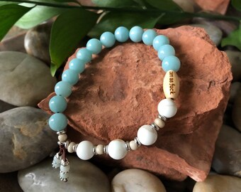 Dharma Zen as F*ck Mala Bracelet | Luxury Amazonite | Creamy White Magnesite | Healing Gemstones | Reiki Infused | Serenity | Self Love