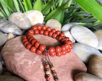 Sweet Relief Double Mala Bracelet | AAA Red Jasper | AAA Picasso Jasper | Mala Beads | Grounding | Energy | Resolves Stressful Situations
