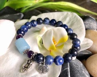 Starry Night Mala Bracelet | Sodalite | Aquamarine | Luxury Gemstone Mala Beads | Owl Charm | Clarity | Higher Self | Soothes Panic Attacks