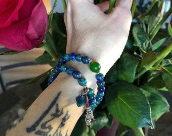 Life Purpose Mala Bracelet | Luxury Gemstone Mala Beads | Azurite | Jade | Apatite | Reiki Infused | Healing | Enlightenment | True Purpose
