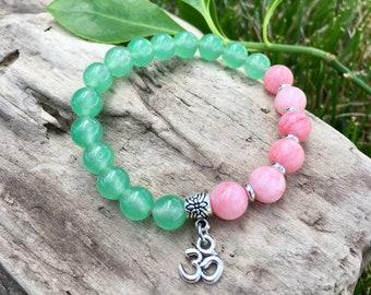 Whispering Heart Mala Bracelet | Green Adventurine | Rose Pink Jade | Luxury Yoga Mala Beads | Open Heart | New Love | Healing | Abundance