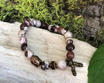 Energy Balance Mala Bracelet   Zebra Jasper   Mala Beads   Yoga Bracelet   Crystal Healing   Reiki   Physical Energy   Awareness   Balance