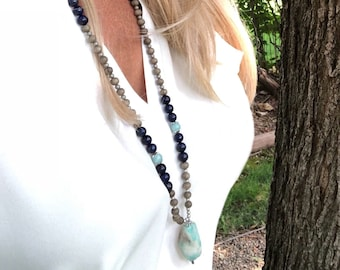 Speak Your Truth Mala Necklace | Reiki Infused Mala Beads | Beautiful Amazonite & Lapis Lazuli Gemstones | Abundance | Clear Communication