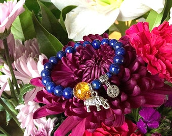 Ultimate Confidence Mala Bracelet | Lapis Lazuli | Citrine | Luxury Gemstone Mala Beads | Reiki Healing | Willpower | Clarity | Success