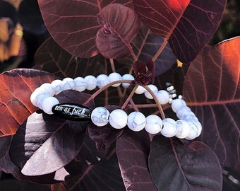 Relaxing Zen AF Mala Bracelet   Natural White Howlite   Black Onyx   Reiki Infused Mala Beads   Relieves Anxiety   Eases Stress and Anger
