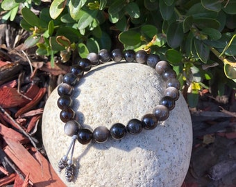 Men's Letting Go Mala Bracelet | AAA Silver Sheen Obsidian | Reiki Mala Beads | Protection | Release the Past | Soul Healing | Confidence