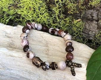 Energy Balance Mala Bracelet   Cocoa Zebra Jasper   Reiki Infused Crystal Mala Beads   Healing   Physical Energy   Awareness   Alignment