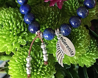 Serenity Angel Mala Bracelet | Beautiful Blue Lapis Lazuli | Luxury Gemstones | Healing Mala Beads | Clarity | Inspiration | Peace |