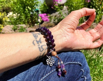Recharge Double Mala Bracelet | AAA Gemstone Mala Beads | Purple Amethyst | Brazilian Red Garnet | Clarity | Passion | Stimulates Metabolism