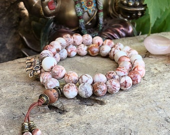 Ananda Bliss Double Mala Bracelet   AAA Luxury Crazy Lace Agate Mala Beads   Reiki Infused   Happiness   Joy    Laughter   Confidence