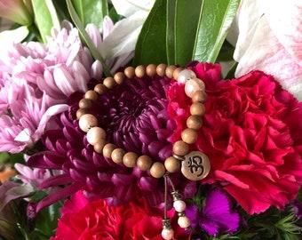 Wild Moon Mala Bracelet   Authentic Natural Sandalwood   Peach Moonstone   Om   Reiki Healing Mala Beads   Raises Vibration   Alignment