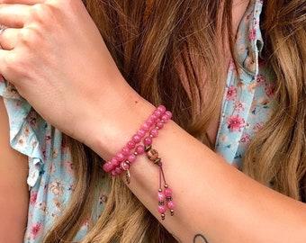 Mending Heart Double Wrap Mala Bracelet | Raspberry Rhodochrosite Gemstones | Reiki Infused Mala Beads | Eases Depression | Heals the Heart