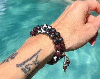 Deep Breath Double Mala Bracelet | Hematite | Brazilian Red Garnet |  Dzi Agate | Luxury Mala Beads | Pain Relief | Restores Energy
