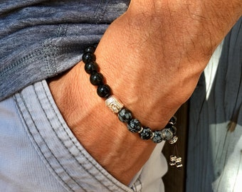 Men's Positivity Mala Bracelet | Black Obsidian | Snowflake Obsidian | Healing Mala Beads | Clarity | Protection | Eases Anxiety Attacks