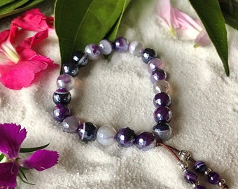Shimmering Aura Mala Bracelet   Purple Line Agate with Silver Luster   Reiki Healing Mala Beads   Elevates Conscious Awareness   Alignment